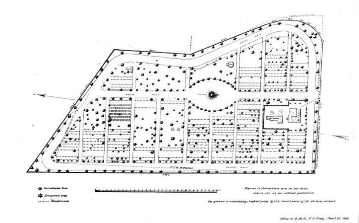 Site map of Wilmington National Cemetery