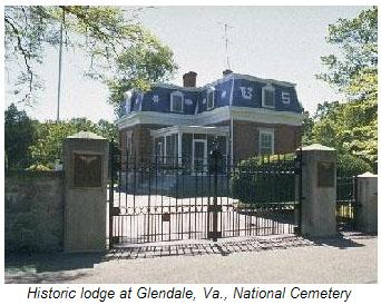 Historic lodge at Glendale, Va., National Cemetery.