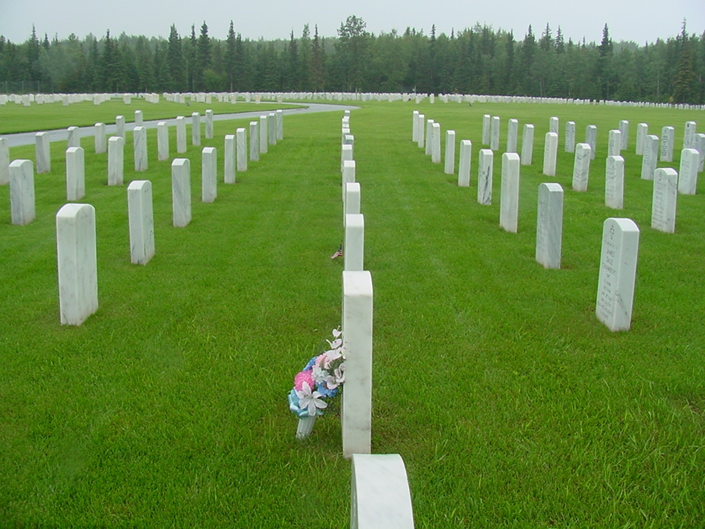 Picture of a cemetery's in-ground cremain burial site.