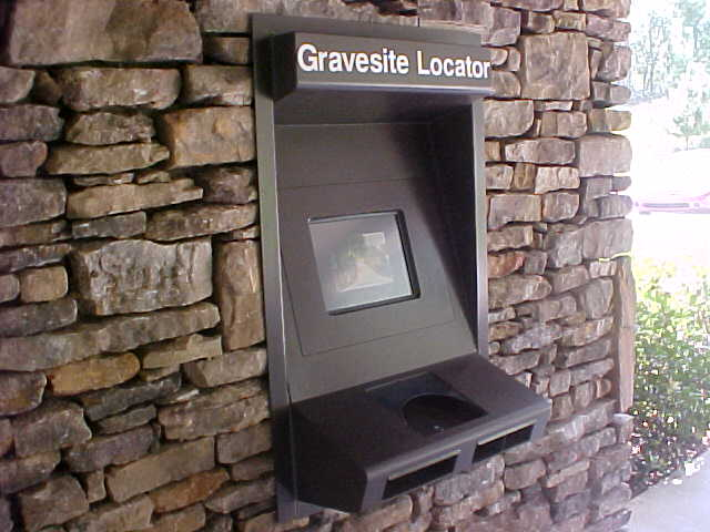 Picture of a cemetery's gravesite information kiosk.