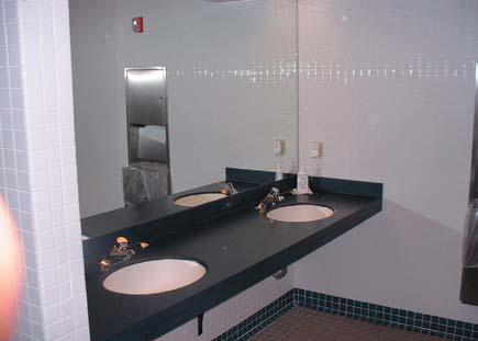 Picture of a cemetery's public restroom.