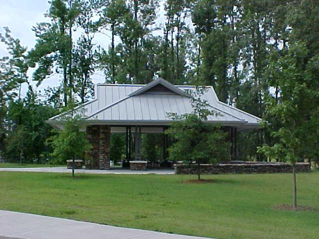 Picture of a cemetery's committal service shelter.