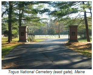 Togus National Cemetery (east gate) Maine.