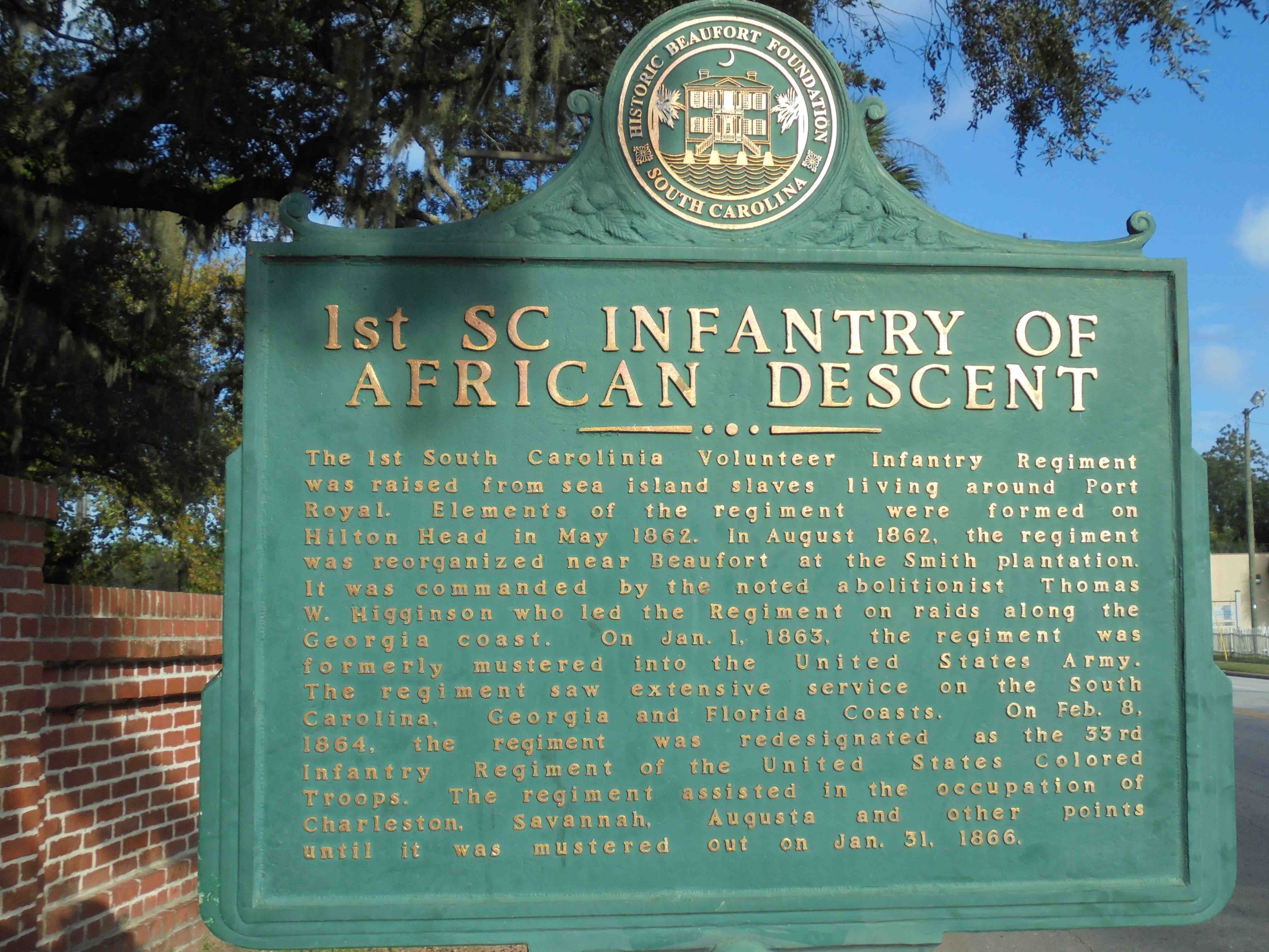 First SC Infantry Historic Marker